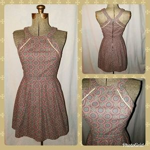AE Outfitters Tan pink Turquoise Dress Size 6